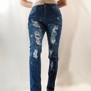 UWD Premium Denimwear NWT distressed blue jeans